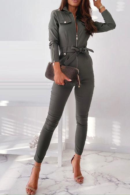 Khaki Zip Front Pocket Design Bengaline Jumpsuit With Belt