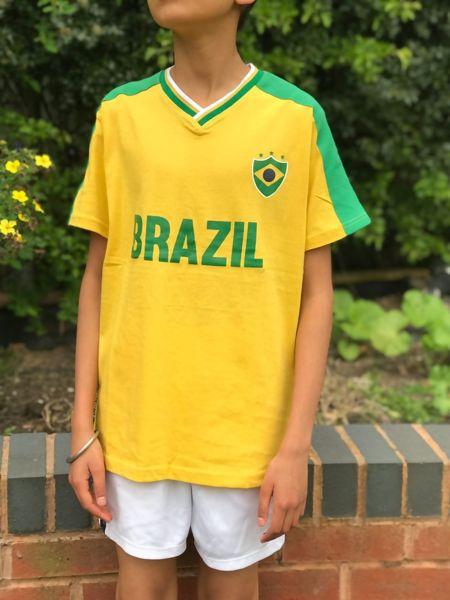 Kids Brazil Football Print T-Shirt