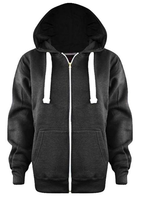 Kids Charcoal Basic Zip Up Hoodies