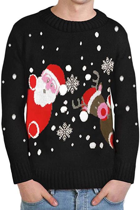 Kids Black Santa And Reindeer Knitted Christmas Jumper