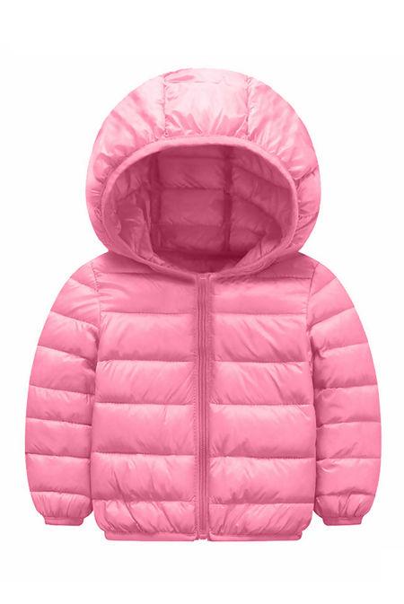 Kids Light Pink Hooded Puffer Jacket