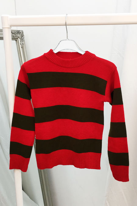 Kids Red And Green Stripe Knitted Jumper