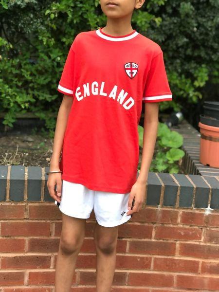 Kids White England Football Print T-Shirt-Copy