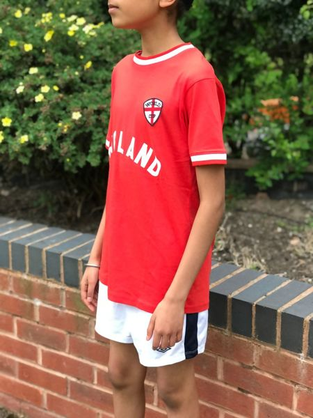 Kids Red England Football Print T-Shirt