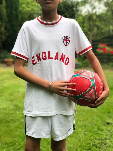 Kids White England Football Print T-Shirt