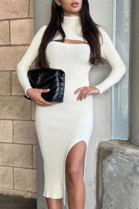 Knitted High Neck Cut Out Midi Bodycon Dress