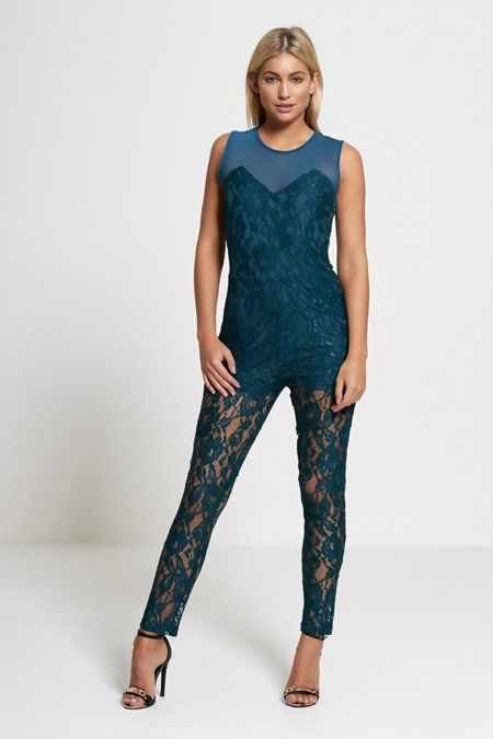 Lavish Lace Teal Jumpsuit