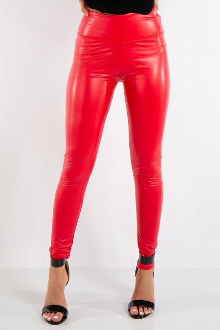 Red Leather Look High Waist PU Leggings
