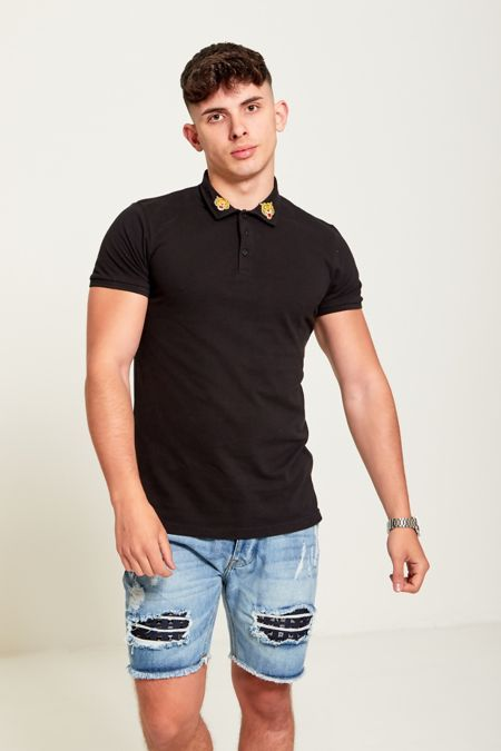 Black Tiger Patch Polo T-Shirt
