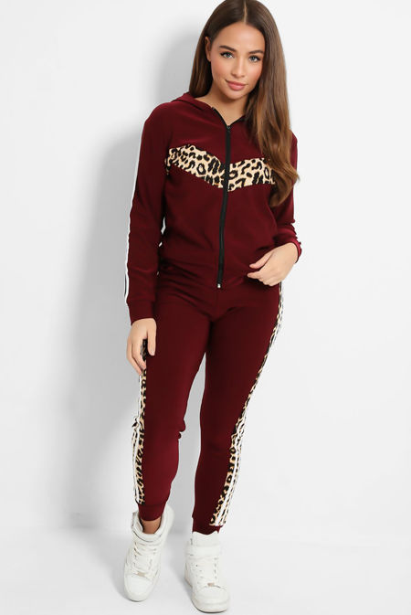 Leopard Panel Side Striped Hooded Tracksuit