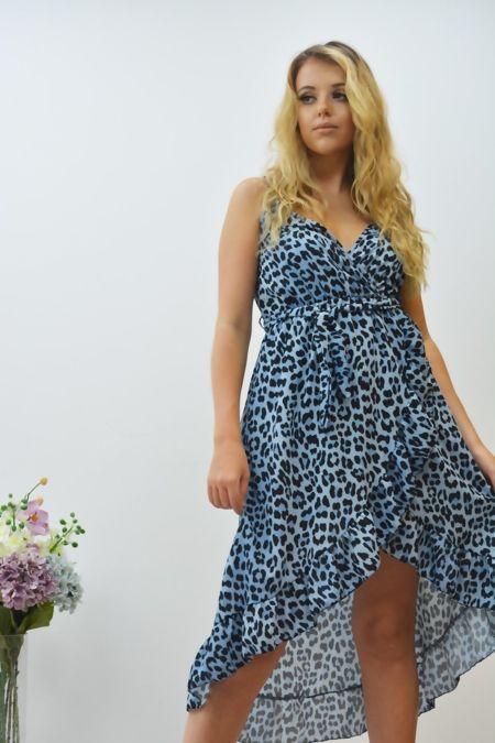 Leopard Print Cross Over Frill Dress