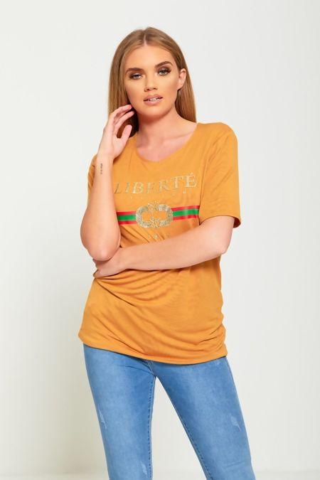 Liberte Longline Mustard T-Shirt Top