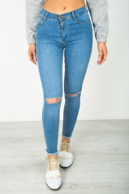 Light Blue Knee Ripped Hem Skinny Jeans