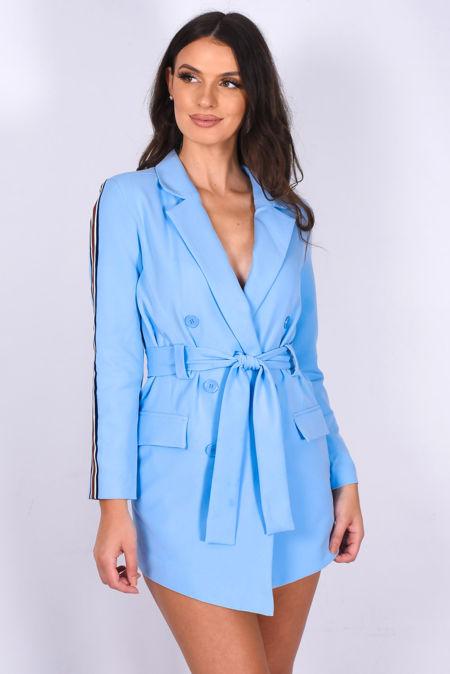 Light Blue Side Striped Belted Long Blazer