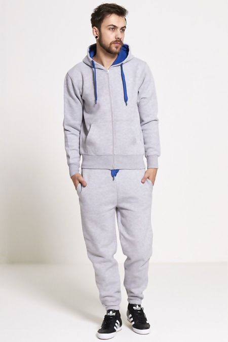 Charcoal With Blue Contrast Tracksuit