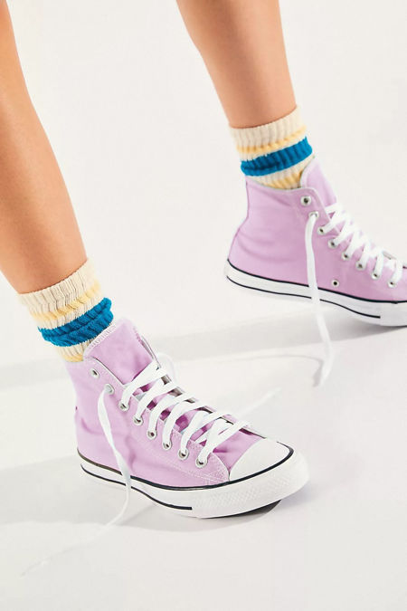 Lilac High Top Canvas Trainers