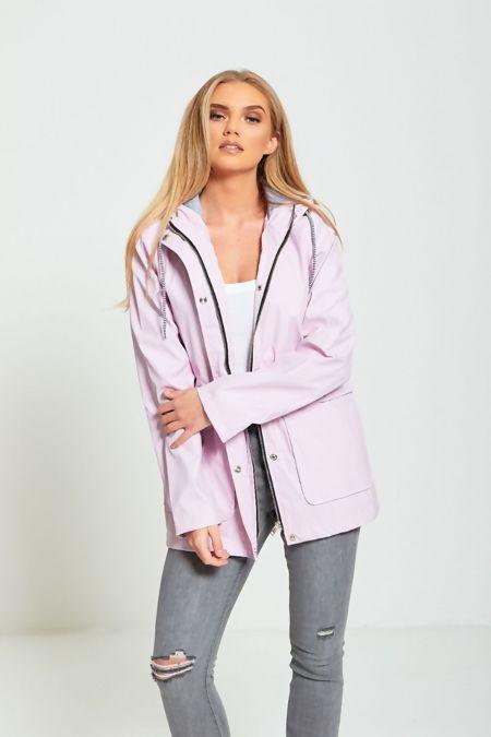 Lilac Rubber Hooded Raincoat Jacket