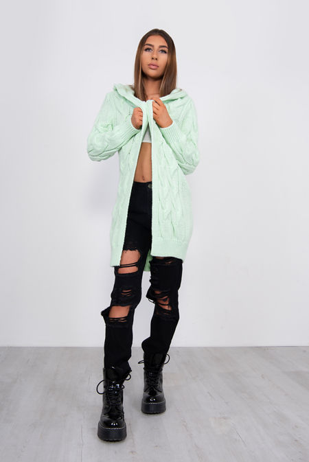Lime Green Cable Knit Hood Cardigan