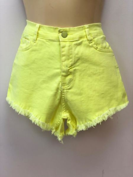 Lime High Waist Frayed Hem Denim Shorts