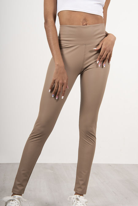 Nude PU High Waist Leggings