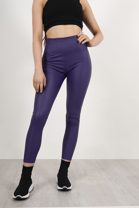Purple Leather Look High Waist Leggings