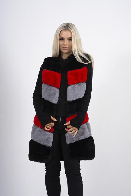Black Colourblock Faux Fur Panelled Gilet