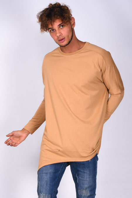 Camel Long Sleeve Longline T-Shirt