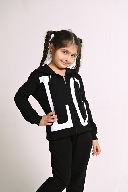 Girls Black LOVE Hooded Zip Up Loungewear Set