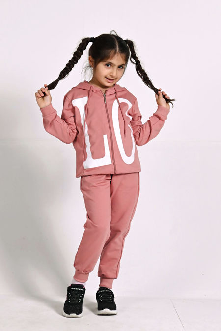 Girls Pink LOVE Hooded Zip Up Loungewear Set