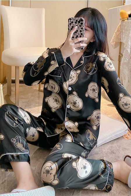 Black Winnie the Pooh Long Sleeve Satin Pajamas
