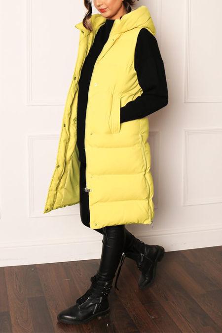 Lemon Longline Hooded Puffer Gilet