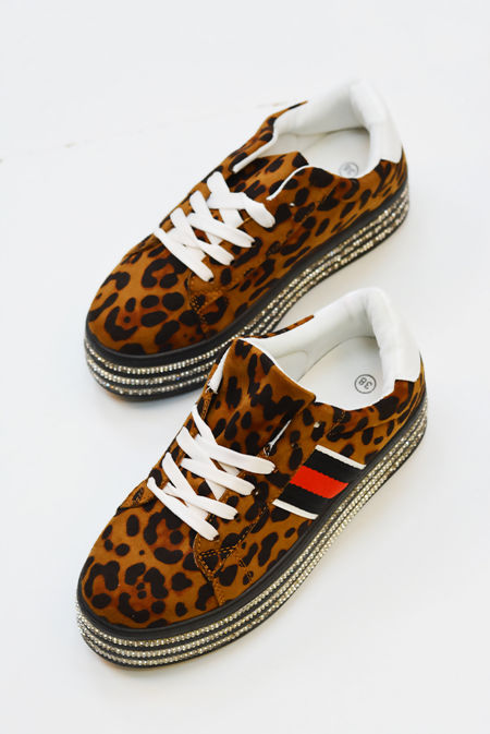 Leopard Diamante Studded Flatform Trainers
