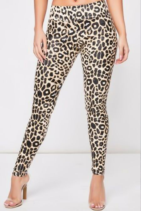 Leopard High Waist Vinyl Leggings