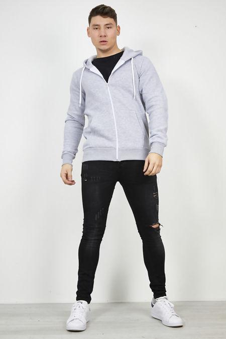 Grey Plain American Fleece Zip Up Hoody Jacket
