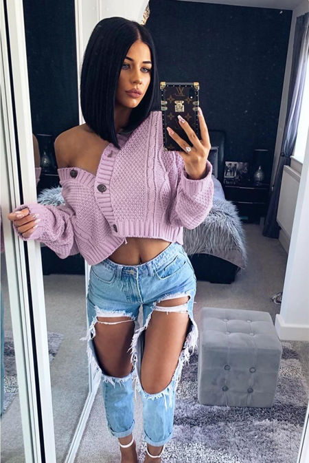 Lilac Cable Cropped Button Up Cardigan