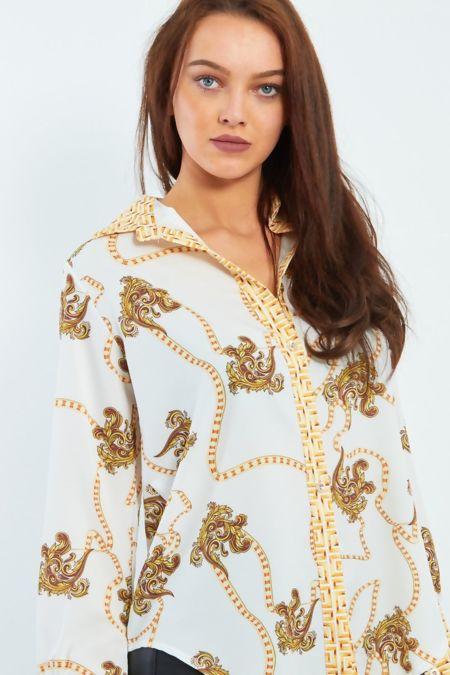 Maze Print Collar And Cuff Shirt