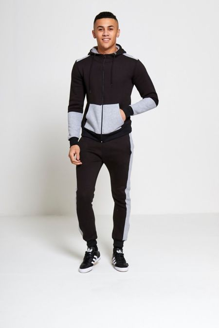 Mens Black And Grey Contrast Zip Up Hood Tracksuit