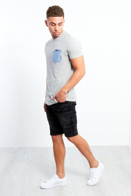 Mens Black Ribbed Distressed Denim Shorts