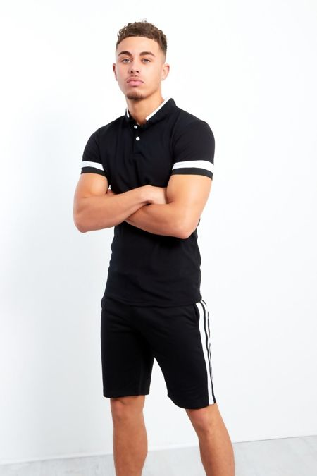 Mens Black with White Panel Detailed T-Shirt and Short Set