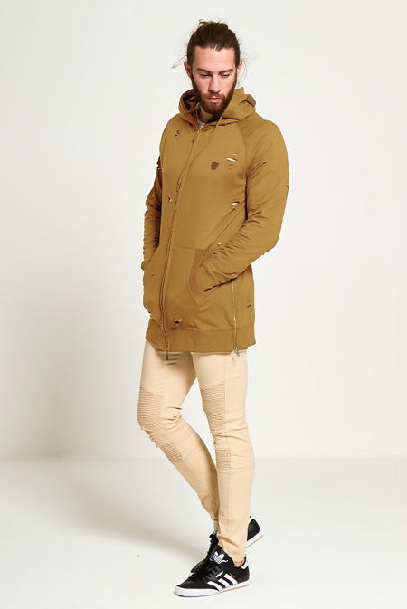 Mens Camel Long Line Distressed Hoodie