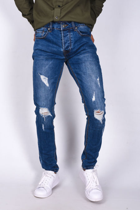 Mens Extreme Ripped Skinny Denim Jeans