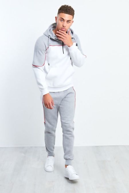Mens Grey And White Blocked Pull Through Tracksuit Preorder