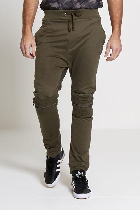 Mens Khaki Ribbed Zipper Knee Pad Jogging Bottoms