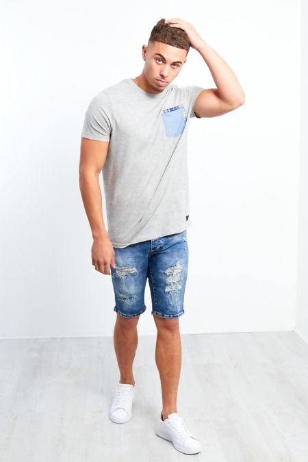 Mens Ripped Dark Denim Shorts