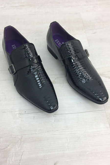 Mens Snake Skin Design Glossy Patent Leather Shoes