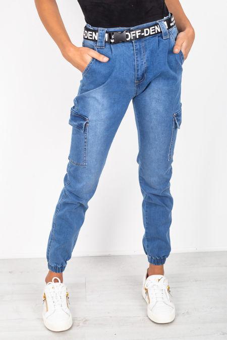 Mid Wash Cargo Pocket Denim Jeans