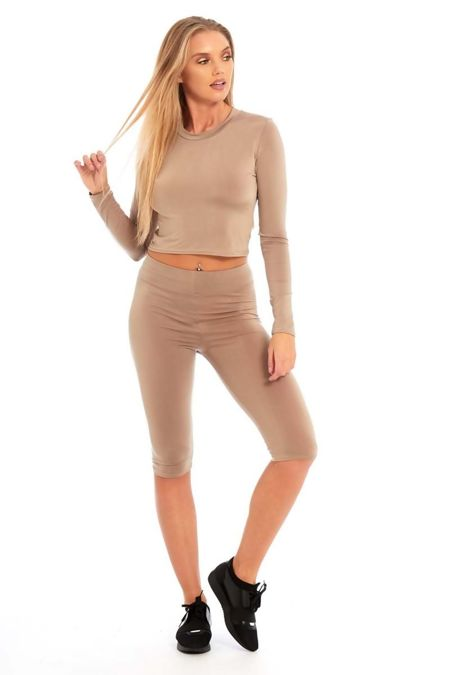 Mocha Crop Top And Legging Shorts Set