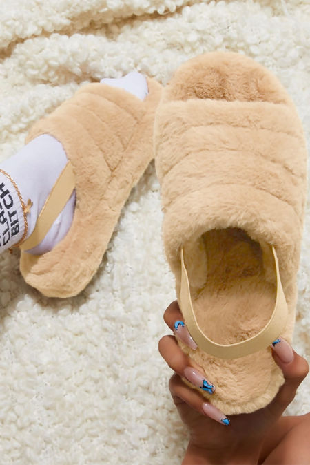 Mocha Faux Fur Fluffy Stripe Slipper