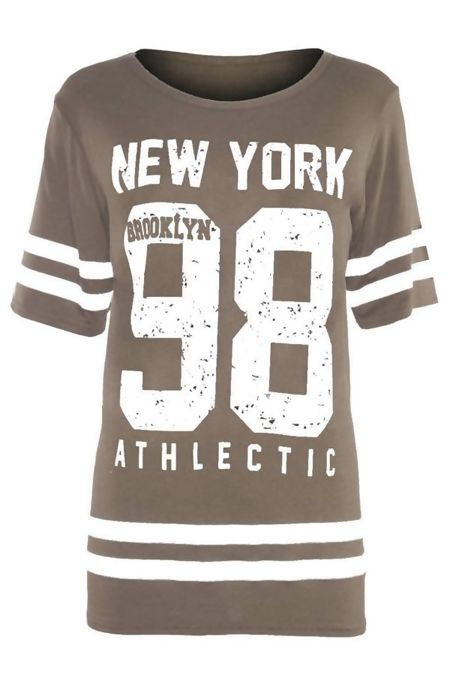 Plus Size Mocha New York 98 Oversize T-Shirt