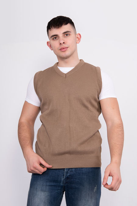 Mocha V-Neck Sleeveless Knitted Jumper